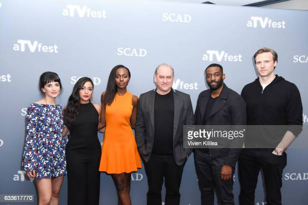 Actor Sheila Vand actor Coral Peña actor Anna Diop Executive Producer Evan Katz actor Ashely Thomas and actor Teddy Sears attend a press junket for...
