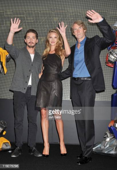 Actor Shia LaBeouf actress Rosie HuntingtonWhiteley and director Michael Bay attend the 'Transformers Dark of the Moon' press conference at the St...