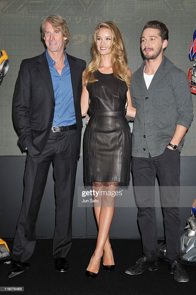 Actor Shia LaBeouf, actress <a gi-track='captionPersonalityLinkClicked' href=/galleries/search?phrase=Rosie+Huntington-Whiteley&family=editorial&specificpeople=2244343 ng-click='$event.stopPropagation()'>Rosie Huntington-Whiteley</a> and director <a gi-track='captionPersonalityLinkClicked' href=/galleries/search?phrase=Michael+Bay&family=editorial&specificpeople=240532 ng-click='$event.stopPropagation()'>Michael Bay</a> attend the 'Transformers: Dark of the Moon' press conference at the St. Regis Hotel Osaka on July 16, 2011 in Osaka, Japan. The film will open on July 29 in Japan.