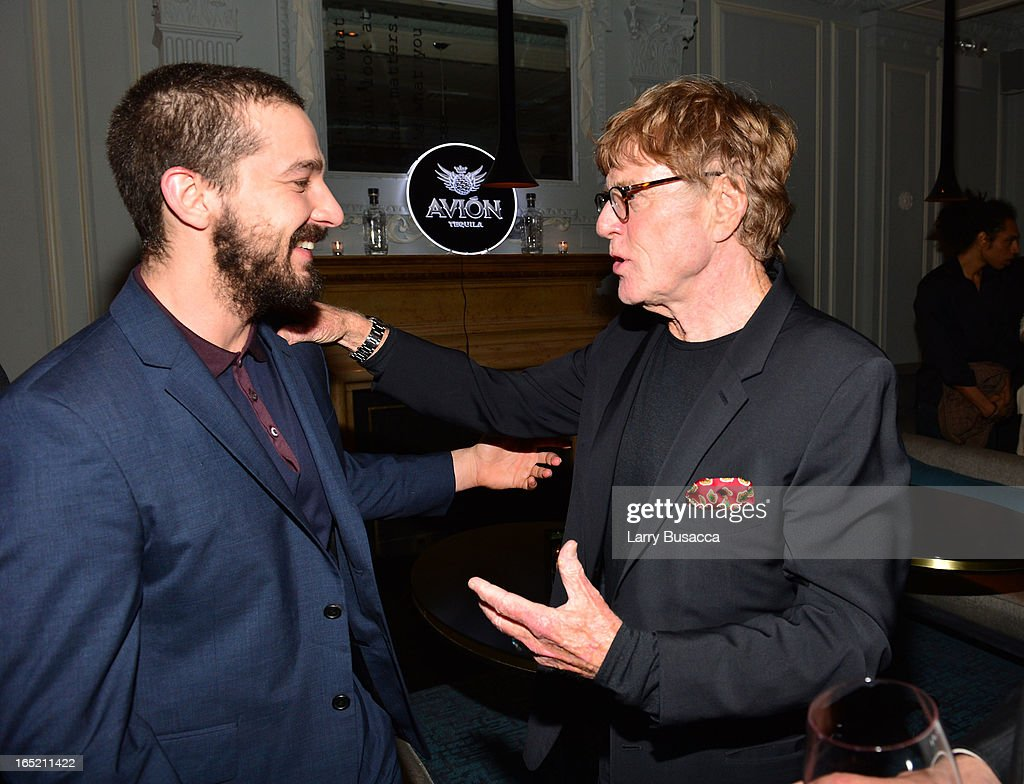 Actor Shia LaBeouf and director <a gi-track='captionPersonalityLinkClicked' href=/galleries/search?phrase=Robert+Redford&family=editorial&specificpeople=202897 ng-click='$event.stopPropagation()'>Robert Redford</a> attend 'The Company You Keep' New York Premiere After Party at Harlow on April 1, 2013 in New York City.