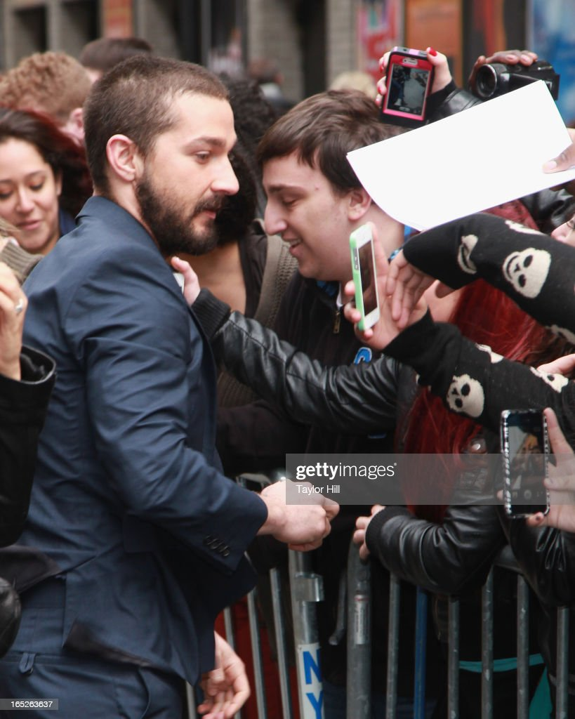 Actor <a gi-track='captionPersonalityLinkClicked' href=/galleries/search?phrase=Shia+LaBeouf&family=editorial&specificpeople=233442 ng-click='$event.stopPropagation()'>Shia LaBeouf</a> arrives 'Late Show with David Letterman' at Ed Sullivan Theater on April 1, 2013 in New York City.