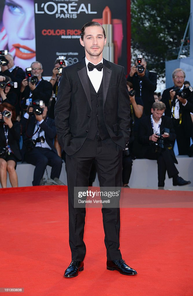 Actor Shia LaBeouf attends 'The Company You Keep' Premiere during The 69th Venice Film Festival at the Palazzo del Cinema on September 6 2012 in...