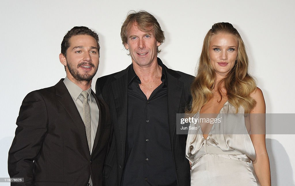 Actor Shia LaBeouf, director <a gi-track='captionPersonalityLinkClicked' href=/galleries/search?phrase=Michael+Bay&family=editorial&specificpeople=240532 ng-click='$event.stopPropagation()'>Michael Bay</a> and actress <a gi-track='captionPersonalityLinkClicked' href=/galleries/search?phrase=Rosie+Huntington-Whiteley&family=editorial&specificpeople=2244343 ng-click='$event.stopPropagation()'>Rosie Huntington-Whiteley</a> attend the 'Transformers: Dark of the Moon' stage greeting at Osaka Station City Cinema on July 16, 2011 in Osaka, Japan. The film will open on July 29 in Japan.