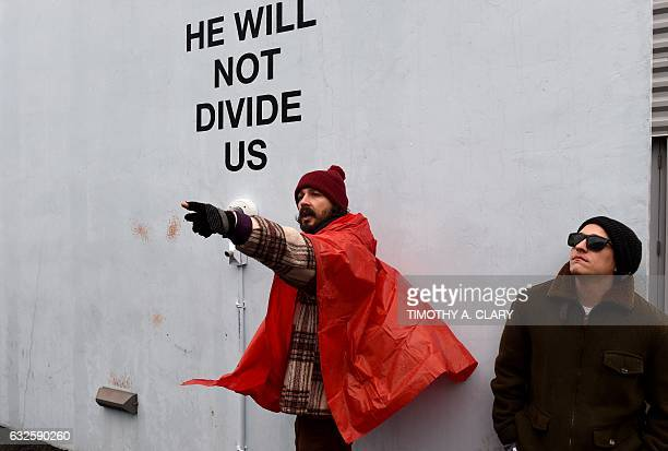 US actor Shia LaBeouf during his He Will Not Divide Us livestream outside the Museum of the Moving Image in Astoria in the Queens borough of New York...