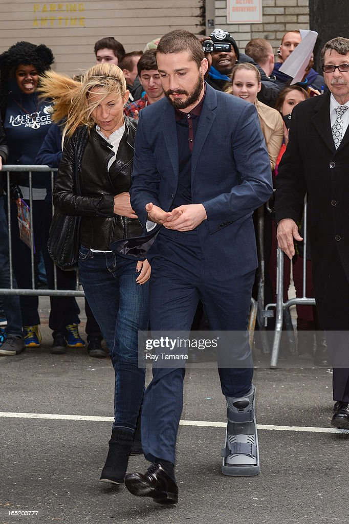 Actor <a gi-track='captionPersonalityLinkClicked' href=/galleries/search?phrase=Shia+LaBeouf&family=editorial&specificpeople=233442 ng-click='$event.stopPropagation()'>Shia LaBeouf</a> enters the 'Late Show With David Letterman' taping at the Ed Sullivan Theater on April 1, 2013 in New York City.