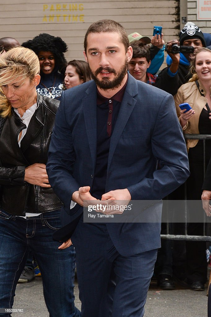 Actor Shia LaBeouf enters the 'Late Show With David Letterman' taping at the Ed Sullivan Theater on April 1, 2013 in New York City.