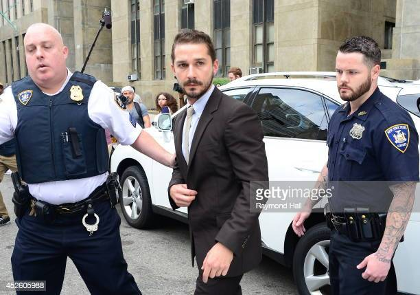 Actor Shia LaBeouf is seen arriving at the court house on July 24 2014 in New York City