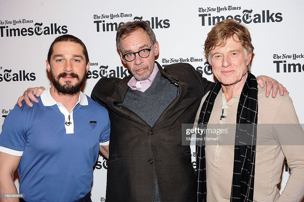 Actor Shia LaBeouf, New York Times media columnist David Carr and actor/ director Robert Redford attend TimesTalks Presents: 'The Company You Keep' at TheTimesCenter on April 2, 2013 in New York City.