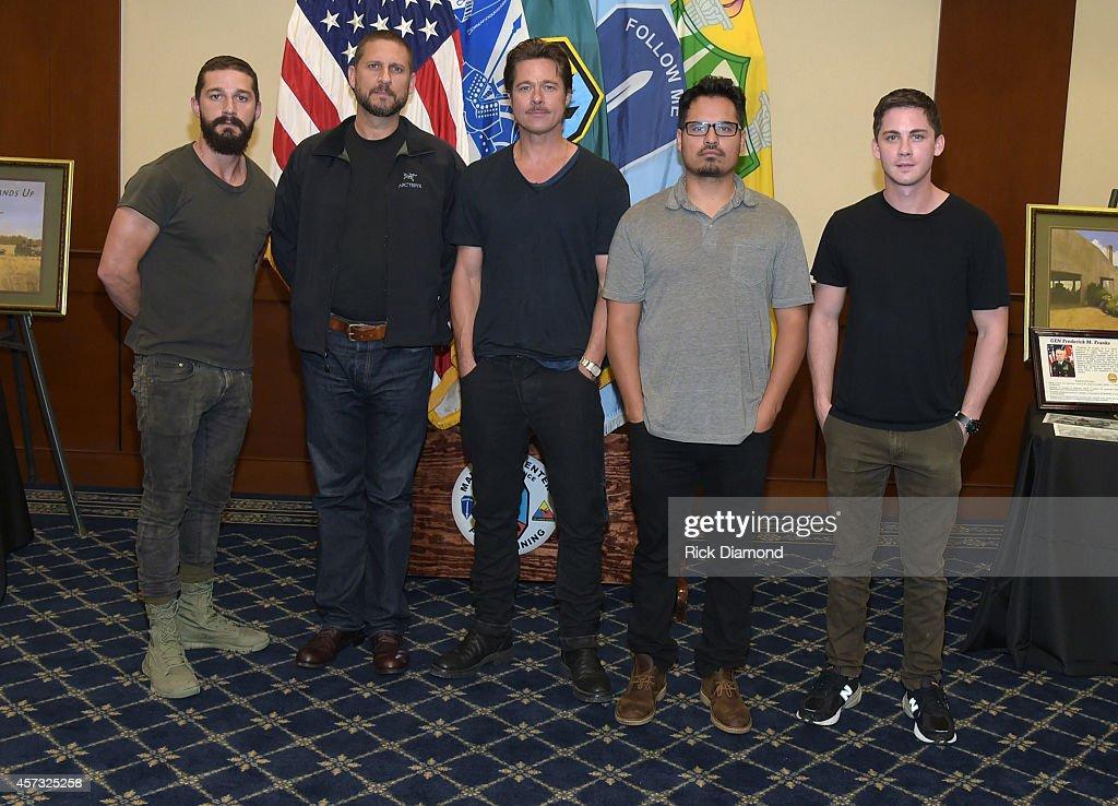 Actor Shia LaBeouf Writer/Director David Ayer Actors Brad Pitt Michael Pena and Logan Leman attend 'Fury' Fort Benning Georgia Special Screening on...