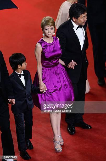 Actor Shogen Whang Yoko Maki and director Hirokazu Koreeda attend the 'Soshite Chichi Ni Naru' Premiere during the 66th Annual Cannes Film Festival...