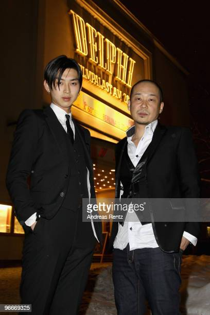 Actor Shota Matsuda and director Tatsushi Omori pose for a photo prior to the 'A Crowd of Three' Premiere during day three of the 60th Berlin...