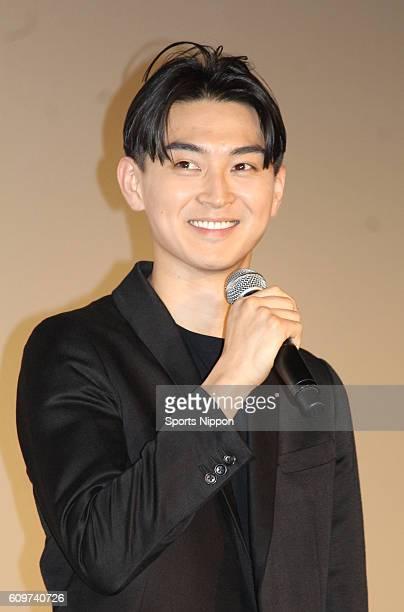 Actor Shota Matsuda attends opening day stage greeting of film 'Initiation Love' on June 4 2015 in Tokyo Japan