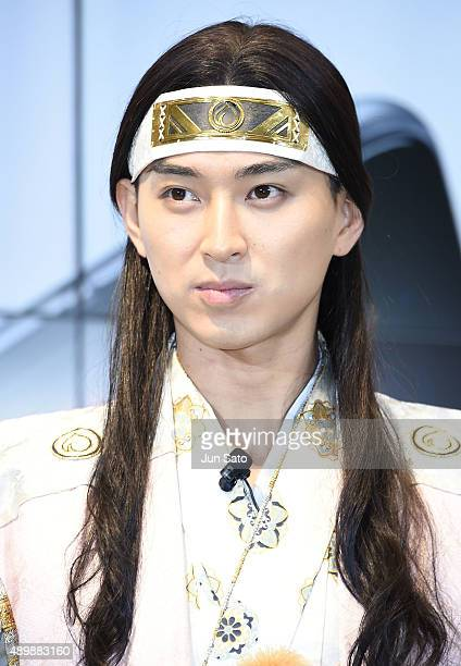 Actor Shota Matsuda attends the news conference of launching iPhone 6s and 6s Plus at AU Shinjuku flagship store on September 25 2015 in Tokyo Japan...