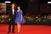 Actor Shota Sometani and actress Fumi Nikaido attend the 'Himizu' Premiere during the 68th Venice Film Festival at Palazzo del Cinema on September 6...