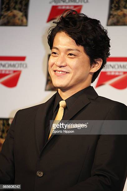Actor Shun Oguri attends the Ajinomoto press conference on September 28 2015 in Tokyo Japan