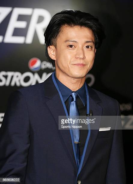 Actor Shun Oguri attends the Pepsi Strong PR event on June 10 2014 in Tokyo Japan