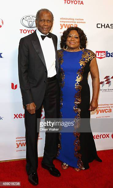 Actor Sidney Poitier and CEO of the YWCA Faye Washington arrive at the YWCA Greater Los Angeles Presents The Rhapsody Ball at the Beverly Wilshire...