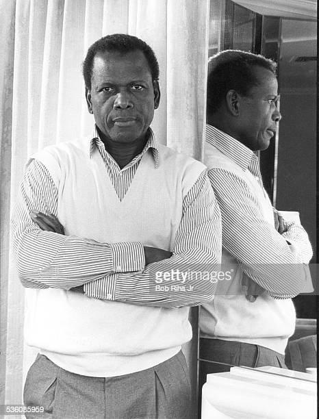 Actor Sidney Poitier is an FBI agent in upcoming 'Shoot to Kill' and 'Little Nikita' movies during photo shoot March 3 1988 in Los Angeles California
