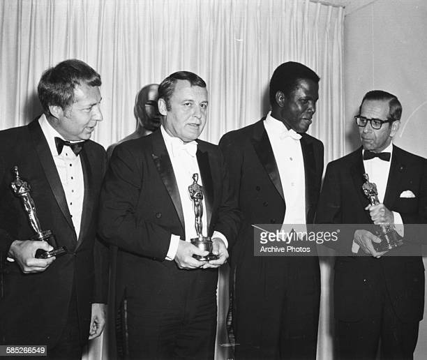 Actor Sidney Poitier Oscar winner for his role in 'Lilies of the Field' with three other winners at the 36th Academy Awards Los Angeles April 13th...