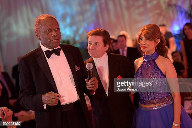 Actor Sidney Poitier singer Bobby Sherman and Brigitte Sherman attend the Brigitte and Bobby Sherman Children's Foundation's 6th Annual Christmas...
