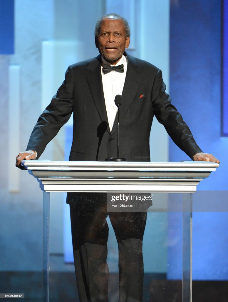 Actor <a gi-track='captionPersonalityLinkClicked' href=/galleries/search?phrase=Sidney+Poitier&family=editorial&specificpeople=94086 ng-click='$event.stopPropagation()'>Sidney Poitier</a> speaks onstage during the 44th NAACP Image Awards at The Shrine Auditorium on February 1, 2013 in Los Angeles, California.