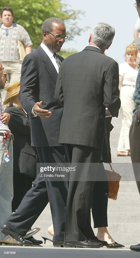 Actor Sidney Portier leaves the Mass Memorial for actor Gregory Peck June 16, 2003 in Los Angeles, California. The public memorial mass was held a the Our Lady of Angeles Cathedral in Downtown Los Angels.