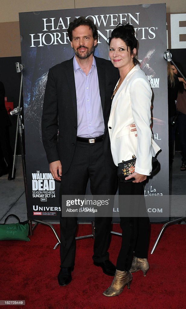 Actor Silas Weir Mitchell and wife arrive for Universal Studios Hollywood 'Halloween Horror Night' and Eye Gore Awards Kick Off Party held at Universal Studios Hollywood on September 21, 2012 in Universal City, California.