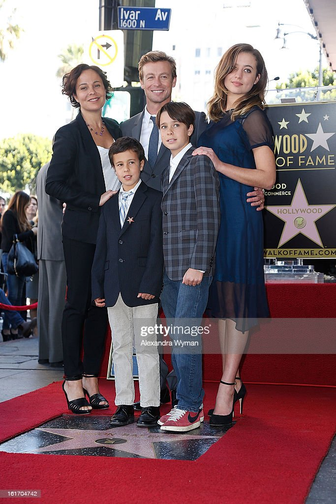 Actor Simon Baker and wife Rebecca Rigg and family at Simon Baker 's ...