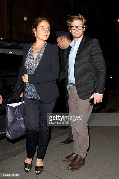 Actor Simon Baker and wife Rebecca Rigg are sighted arriving at their hotel on May 8 2012 in Paris France