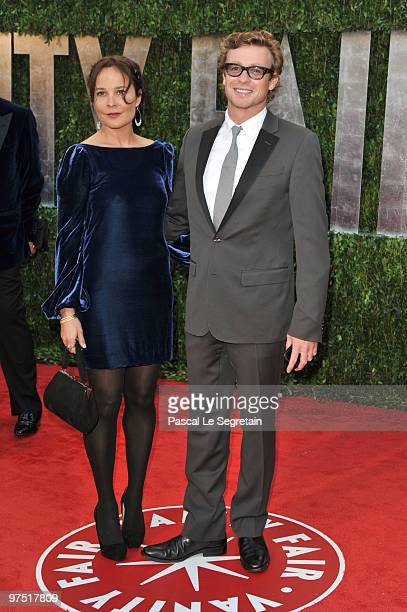 Actor Simon Baker and wife Rebecca Rigg arrive at the 2010 Vanity Fair Oscar Party hosted by Graydon Carter held at Sunset Tower on March 7 2010 in...