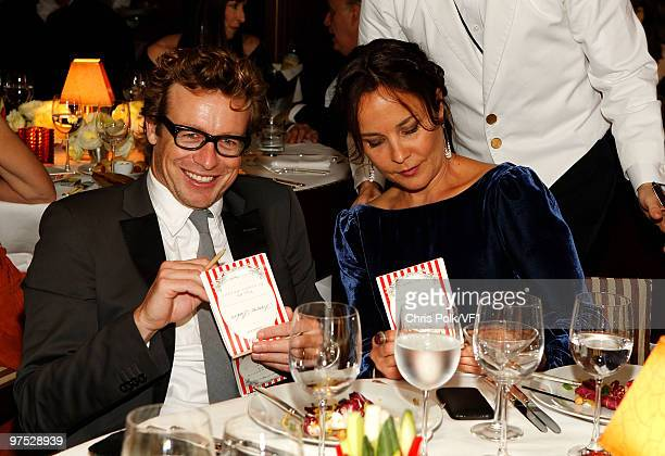 WEST HOLLYWOOD CA MARCH 07 *EXCLUSIVE* Actor Simon Baker and wife Rebecca Rigg attend the 2010 Vanity Fair Oscar Party hosted by Graydon Carter at...