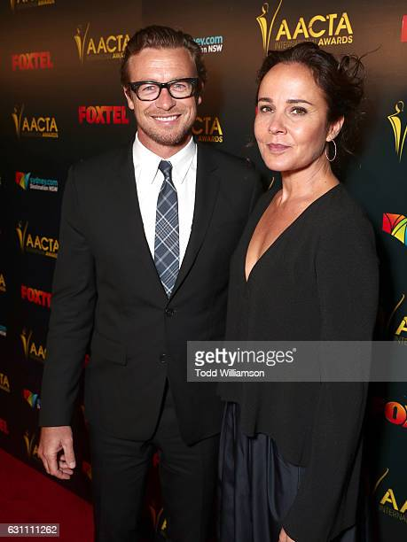 Actor Simon Baker and wife Rebecca Rigg attend The 6th AACTA International Awards on January 6 2017 in Los Angeles California