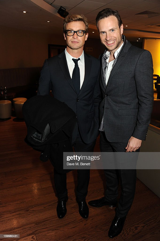 Actor <a gi-track='captionPersonalityLinkClicked' href=/galleries/search?phrase=Simon+Baker&family=editorial&specificpeople=206176 ng-click='$event.stopPropagation()'>Simon Baker</a> andactor Rafe Spall attend the European Premiere of 'I Give It A Year' at Vue West End on January 24, 2013 in London, England.