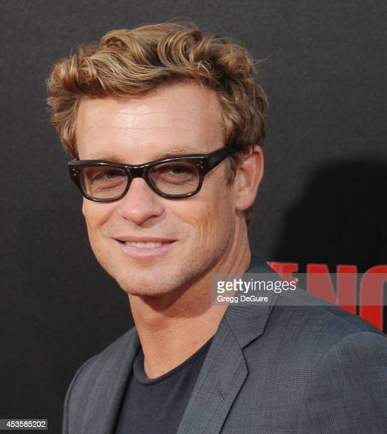 Actor Simon Baker arrives at the Los Angeles premiere of 'The November Man' at TCL Chinese Theatre on August 13 2014 in Hollywood California