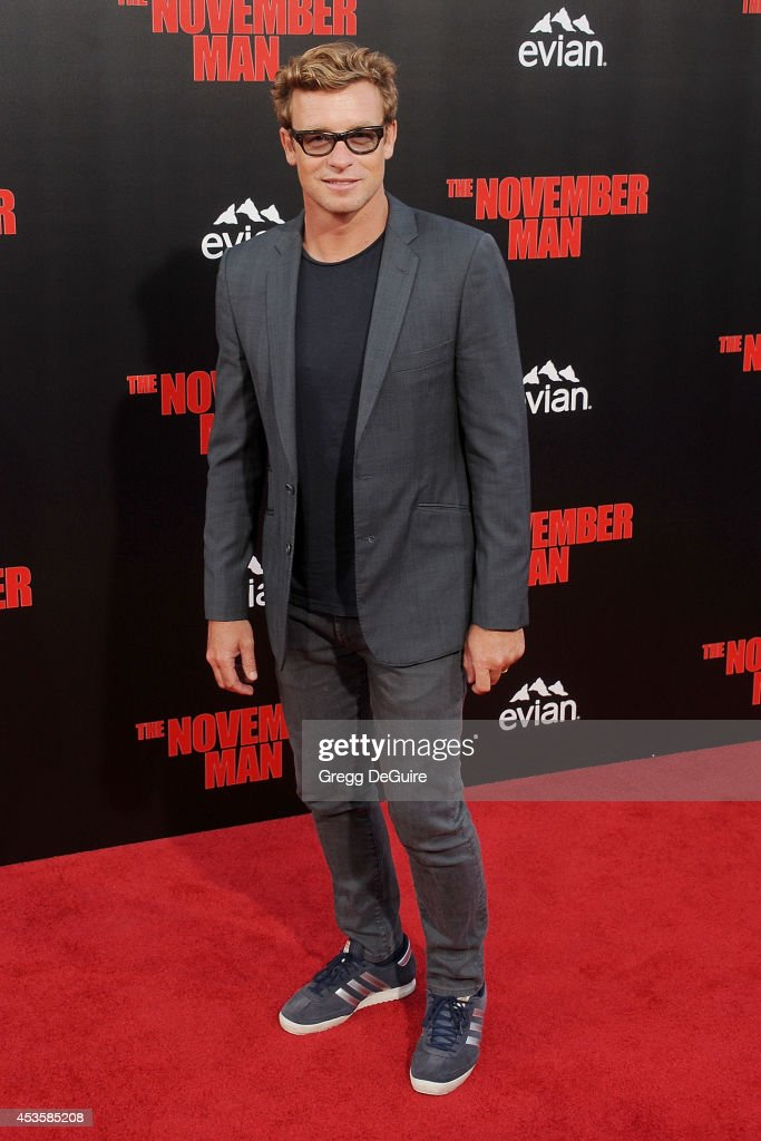 Actor <a gi-track='captionPersonalityLinkClicked' href=/galleries/search?phrase=Simon+Baker&family=editorial&specificpeople=206176 ng-click='$event.stopPropagation()'>Simon Baker</a> arrives at the Los Angeles premiere of 'The November Man' at TCL Chinese Theatre on August 13, 2014 in Hollywood, California.