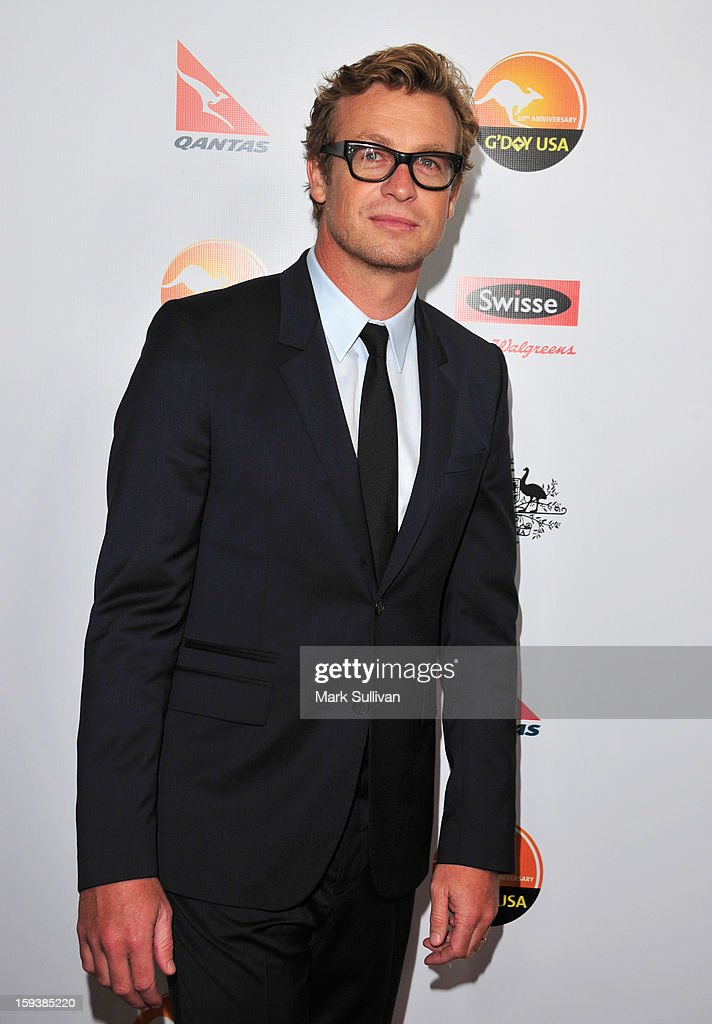 Actor <a gi-track='captionPersonalityLinkClicked' href=/galleries/search?phrase=Simon+Baker&family=editorial&specificpeople=206176 ng-click='$event.stopPropagation()'>Simon Baker</a> arrives for the G'Day USA Black Tie Gala held at at the JW Marriot at LA Live on January 12, 2013 in Los Angeles, California.