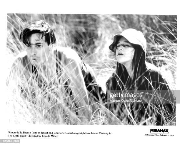 Actor Simon de La Brosse and actress Charlotte Gainsbourg on the set of the Miramax films movie 'The Little Thief ' circa 1988