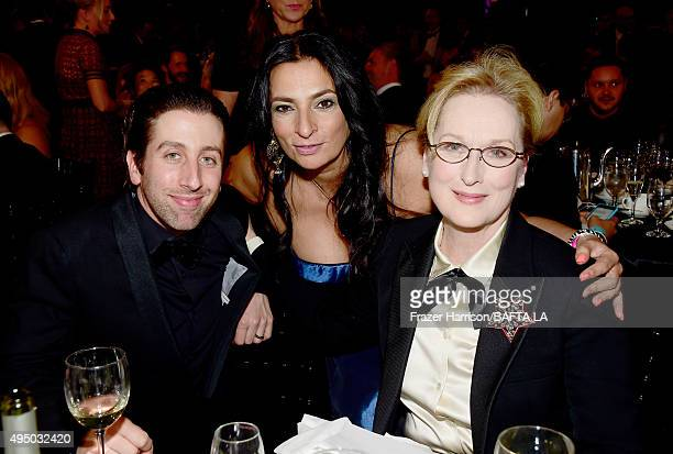 Actor Simon Helberg actress Alice Amter and honoree Meryl Streep attend the 2015 Jaguar Land Rover British Academy Britannia Awards presented by...