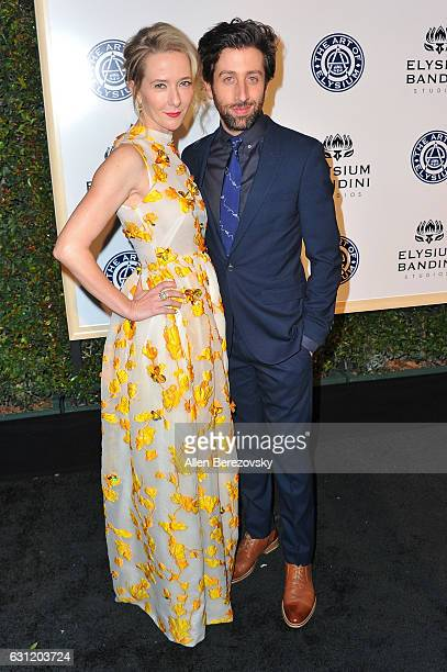 Actor Simon Helberg and Jocelyn Towne attend Stevie Wonder's HEAVEN 10th Anniversary celebration presented by The Art of Elysium at Red Studios on...
