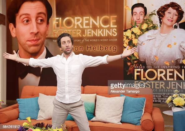 Actor Simon Helberg is seen on the set of 'Despierta America' to promote the film 'Florence Foster Jenkins' at Univision Studios on July 28 2016 in...