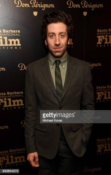Actor Simon Helberg visits the Dom Perignon Lounge before receiving the Virtuosos Award at The Santa Barbara International Film Festival on February...