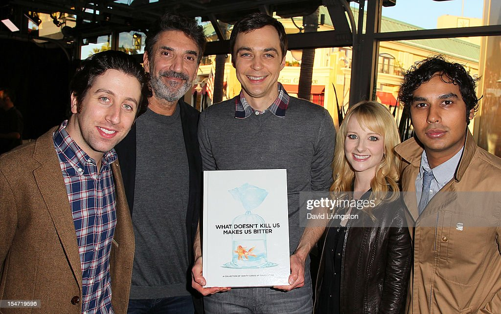 Actor <a gi-track='captionPersonalityLinkClicked' href=/galleries/search?phrase=Simon+Helberg&family=editorial&specificpeople=3215017 ng-click='$event.stopPropagation()'>Simon Helberg</a>, writer <a gi-track='captionPersonalityLinkClicked' href=/galleries/search?phrase=Chuck+Lorre&family=editorial&specificpeople=2307242 ng-click='$event.stopPropagation()'>Chuck Lorre</a> and actors <a gi-track='captionPersonalityLinkClicked' href=/galleries/search?phrase=Jim+Parsons&family=editorial&specificpeople=2480791 ng-click='$event.stopPropagation()'>Jim Parsons</a>, <a gi-track='captionPersonalityLinkClicked' href=/galleries/search?phrase=Melissa+Rauch&family=editorial&specificpeople=887562 ng-click='$event.stopPropagation()'>Melissa Rauch</a> and <a gi-track='captionPersonalityLinkClicked' href=/galleries/search?phrase=Kunal+Nayyar&family=editorial&specificpeople=4414736 ng-click='$event.stopPropagation()'>Kunal Nayyar</a> attend a reception to celebrate the release of Lorre's 'What Doesn't Kill Us Makes Us Bitter' at Mixology101 & Planet Dailies on October 24, 2012 in Los Angeles, California.