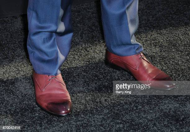 Actor Simon Kassianides shoe detail attends premiere of Warner Bros Pictures' 'Unforgettable' at TCL Chinese Theatre on April 18 2017 in Hollywood...