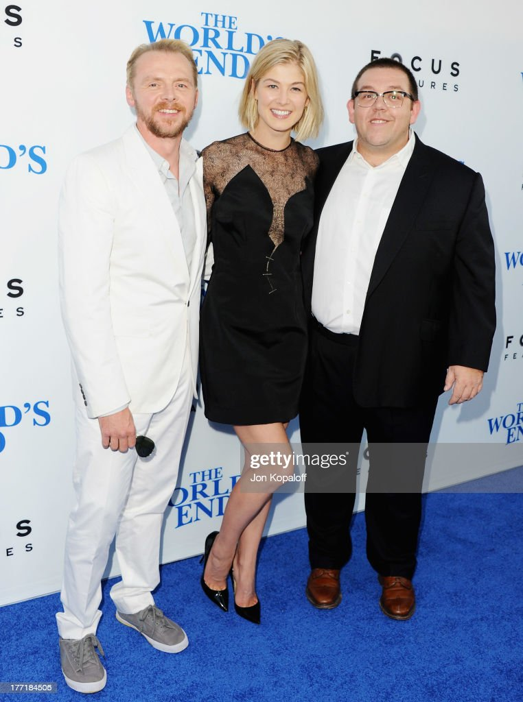 Actor <a gi-track='captionPersonalityLinkClicked' href=/galleries/search?phrase=Simon+Pegg&family=editorial&specificpeople=206280 ng-click='$event.stopPropagation()'>Simon Pegg</a>, actress <a gi-track='captionPersonalityLinkClicked' href=/galleries/search?phrase=Rosamund+Pike&family=editorial&specificpeople=208910 ng-click='$event.stopPropagation()'>Rosamund Pike</a> and actor Nick Frost arrive at the Los Angeles Premiere 'The World's End' at ArcLight Cinemas Cinerama Dome on August 21, 2013 in Hollywood, California.