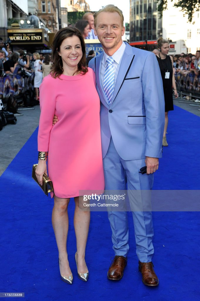 Actor <a gi-track='captionPersonalityLinkClicked' href=/galleries/search?phrase=Simon+Pegg&family=editorial&specificpeople=206280 ng-click='$event.stopPropagation()'>Simon Pegg</a> and his wife Maureen McCann attend the World Premiere of The World's End at Empire Leicester Square on July 10, 2013 in London, England.