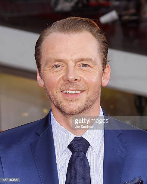 Actor Simon Pegg attends the 'Mission Impossible Rogue Nation' New York premiere at Times Square on July 27 2015 in New York City