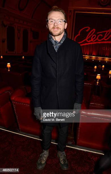 Actor Simon Pegg attends the screening of 'Trash' hosted by Claudia Winkleman Emma Freud and Laura Bailey at The Electric Cinema on December 15 2014...