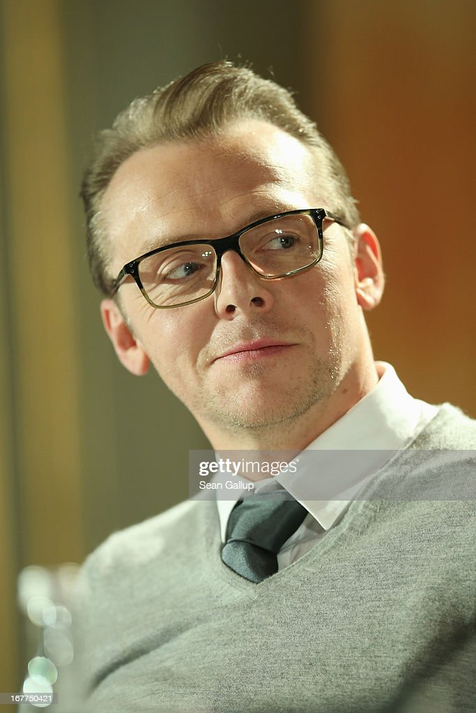 Actor <a gi-track='captionPersonalityLinkClicked' href=/galleries/search?phrase=Simon+Pegg&family=editorial&specificpeople=206280 ng-click='$event.stopPropagation()'>Simon Pegg</a> attends the 'Star Trek Into Darkness' Press Conference at Hotel Adlon on April 29, 2013 in Berlin, Germany.