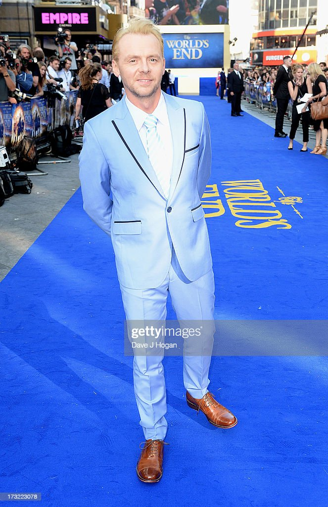 Actor Simon Pegg attends 'The World's End' world premiere at the Empire Leicester Square on July 10, 2013 in London, England.