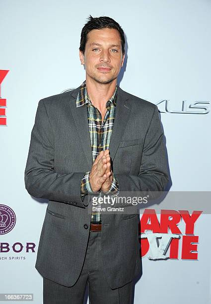 Actor Simon Rex arrives at the 'Scary Movie V' Los Angeles premiere at ArcLight Cinemas Cinerama Dome on April 11 2013 in Hollywood California